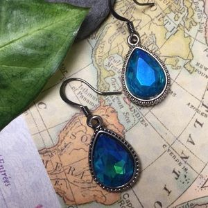 Blue green iridescent pear drop earrings